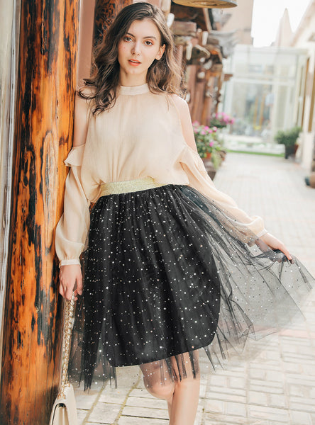 Embroidered Skirt Stars Sequined Skirt