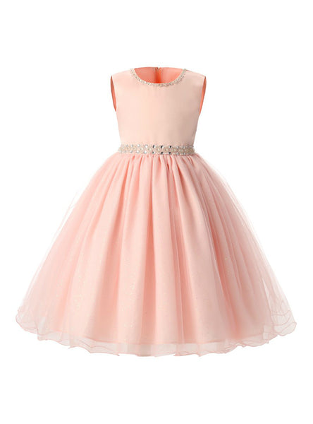Pink Children Dresses For Girls Kids Formal Wear