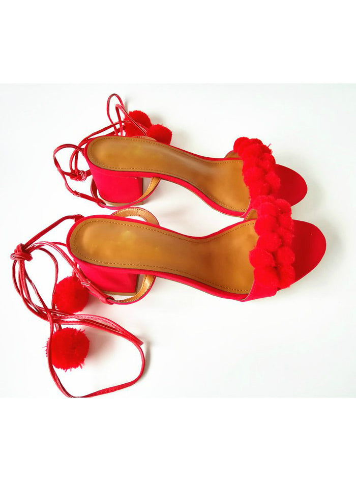 High Heels Lace Up Pom Pom Sandals Sexy Denim