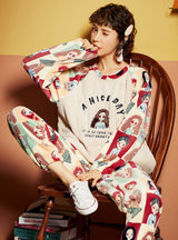 Warm Coral Fleece Two-piece Suit Round Neck Cartoon