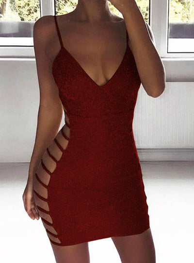 Bodycon Dress Sleeveless V Neck Spaghetti Strap Dress