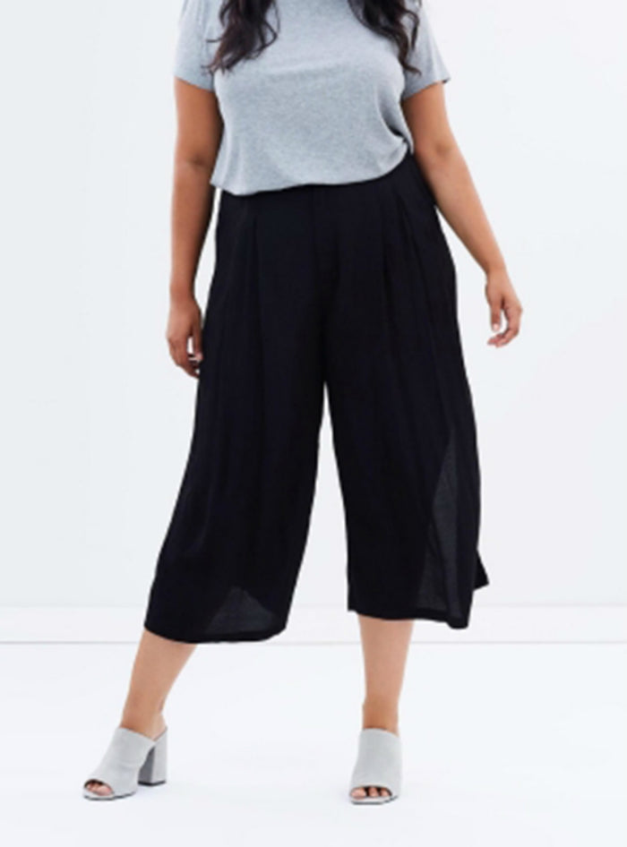 Solid Color Basic Chiffon Wide Leg Pants