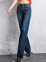 Wide Leg Denim Jeans Breasted Dark Blue