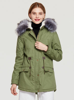 Long Cotton-padded Jacket Heavy Fur Collar Hat