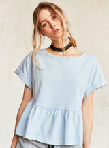 O-neck Short Sleeve Lady Tops Cotton Solid Blue/Pink