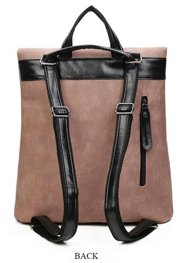 2 Pcs Set Women Composite Backpack PU Leather