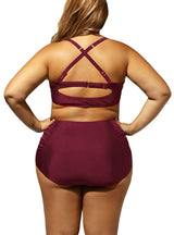 Burgundy Swimwear Ruched High Waist Swimsuit