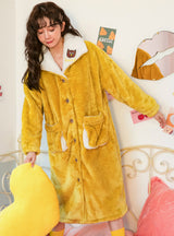 Yellow Owl Thickened Coral Velvet Loose Long Robe