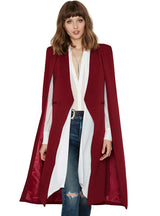 Open Front Blazer Suits with Pocket Cape Trench Coat