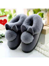 Lovely Rabbit Ears Soft Home Slippers Cotton Warm