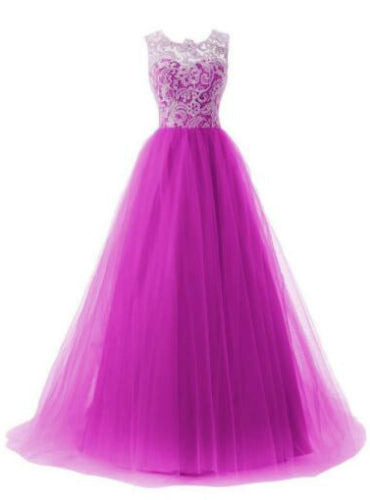 A-line Tulle Scoop Floor Length Party Dress