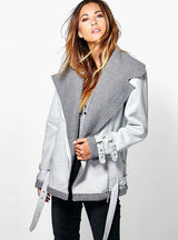 Suede Leather Jackets Silver Coat Outwear Lapel Neck