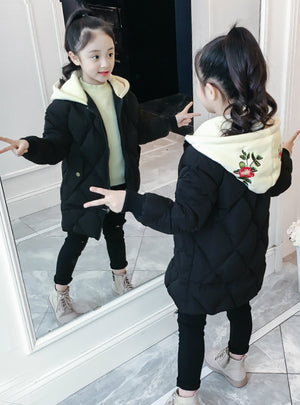 Girl's Winter Coat Cotton-Padded Embeoidery Clothes
