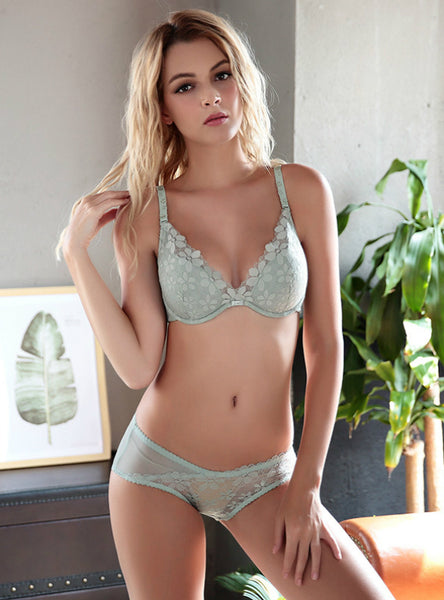 Thin Cotton Cup Lace Ladies Bra Set