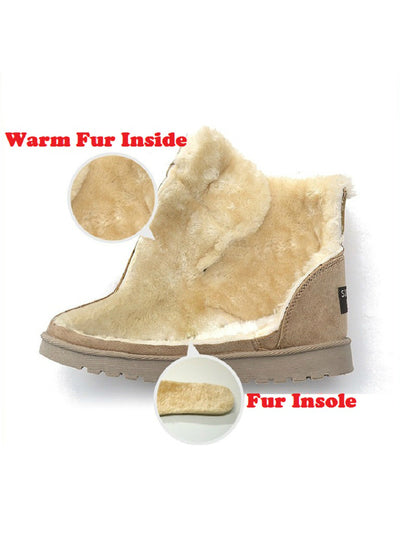Winter Boots Suede Ankle Snow Boots Female Warm Fur