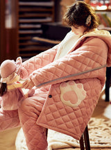 Pink Three-layer Cotton Wool Padded Warm Cotton Jacket Coral Fleece