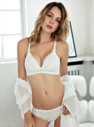 Embroidered Thin Bra Set Lace Without Steel Rings