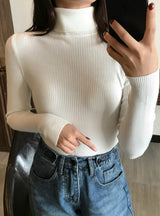 Winter Thick Sweater Women Knitted Ribbed Pullover Sweater