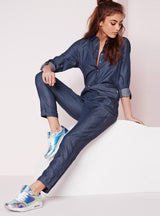Long Sleeve Female Shirt Denim Jumpsuits Loose Blue