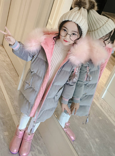 Girl Long Cotton-Padded Jacket Velvet Jacket