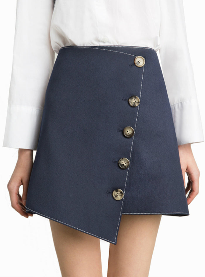 Blue Asymmetric Women Mini Skirts Sweet