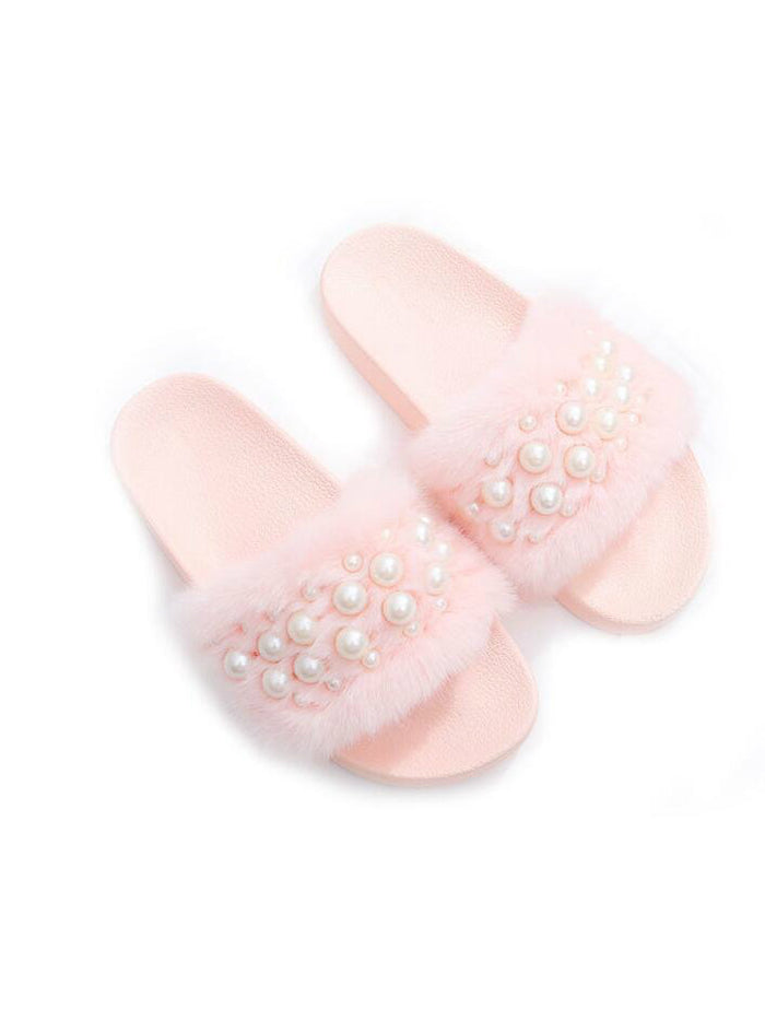 Fluffy Women Fur pearl Slippers Open Toe Flops