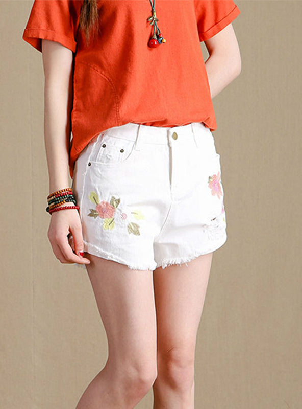 White Denim Shorts Ripped Hole Wide Leg Shorts