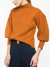 Sweater Vintage Solid Orange Pullovers Lantern Sleeve