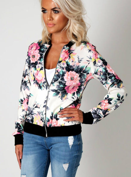 Flower Print Women Basic Coats Long Sleeve Zipper