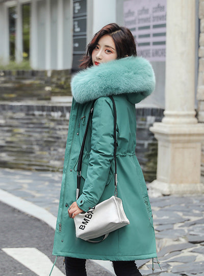 Winter Warm Velvet Thicken Faux Fur Coats Parka
