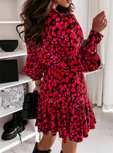 Long Lantern Sleeve Print Wrap Dress