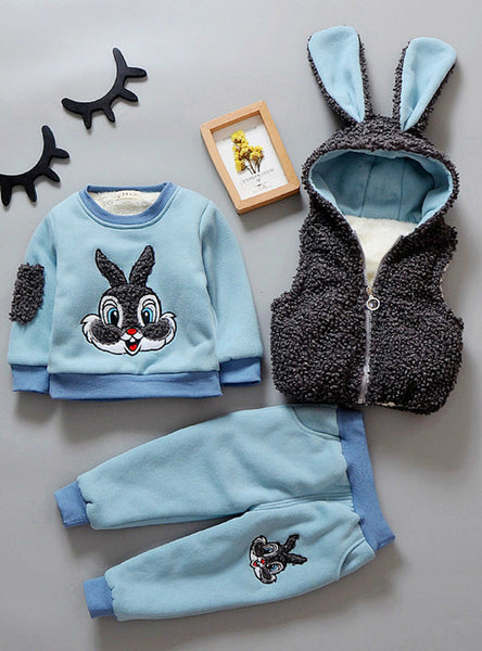 3PCS Vest+Long Sleeves+Pants Cartoon Rabbit