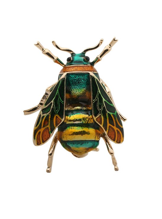 Cute Bee Black Yellow Enamel Insect Brooches