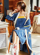 Two-piece Suit Long Bathrobe Fleece Nightgown Sling Nightdress