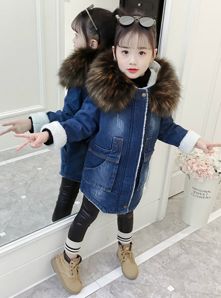 Girl's Denim Cotton-Padded long jacket