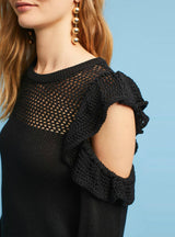 O-Neck Pullovers sexy Lotus leaf side sweater