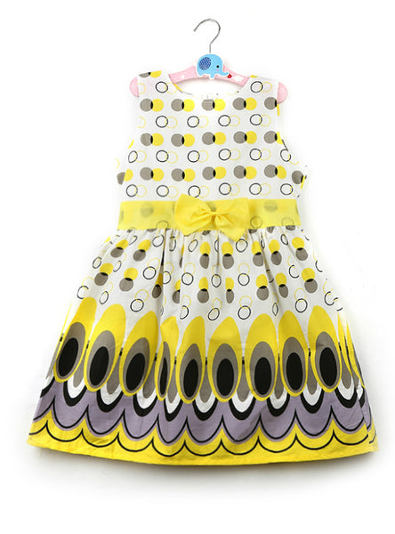 Princess Bow Belt dress Circle Bubble Peacock Print