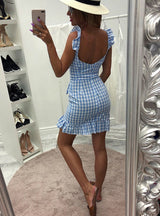 Women Casual Plaid Dress Vintage Ruffle Backless Wrap