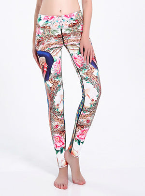 Sporting Clothes Peacock Printed Slim Legging