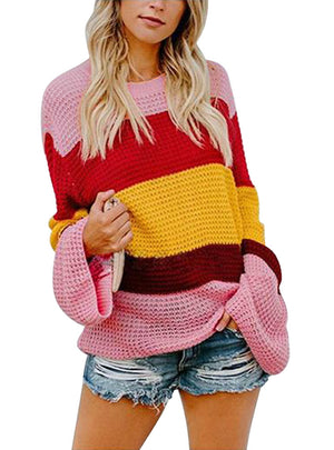 Three Color Spliced Long Sleeve Loose Pullover Sweater