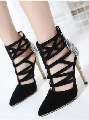 Cut Out Snakeskin Print Roman Sandals Gladiator Ankle