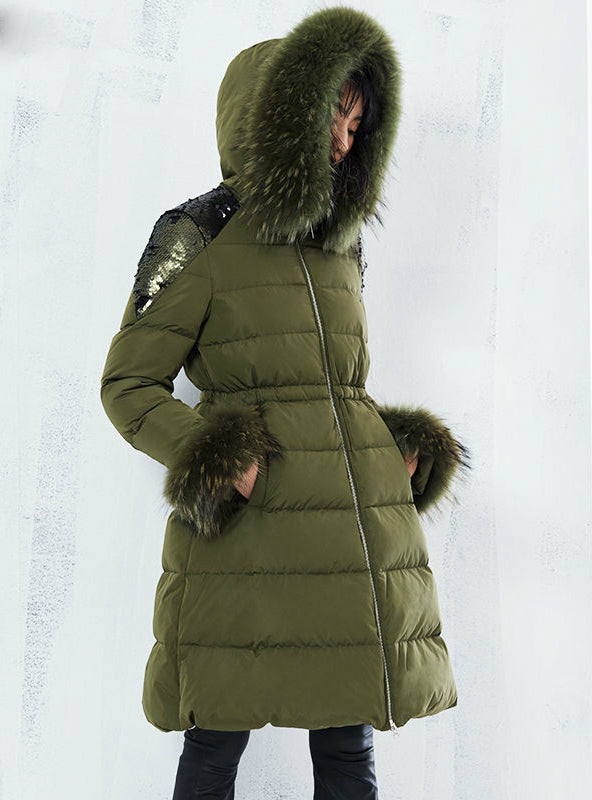 Lady Cotton Outwear Real Fur Sequins Long Winter Parka
