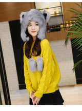 Faux Fur Hats Women Fox Modeling Hat