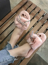 Women Plush Home Slippers with Faux Fur Warm Shoes