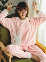 Pink Carrot Rabbit Scoop Coral Velvet Pajamas Suit