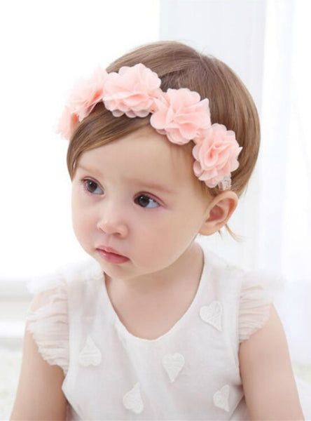 Baby Flower Headband Pink Ribbon Hair Bands Handmade