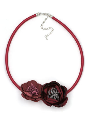 Fabric Flower Elegant Statement Choker Necklace