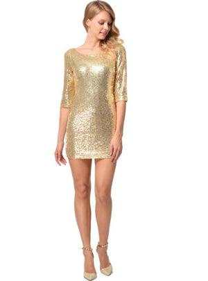 Sexy Gold Mini Club Sequins Party Dress