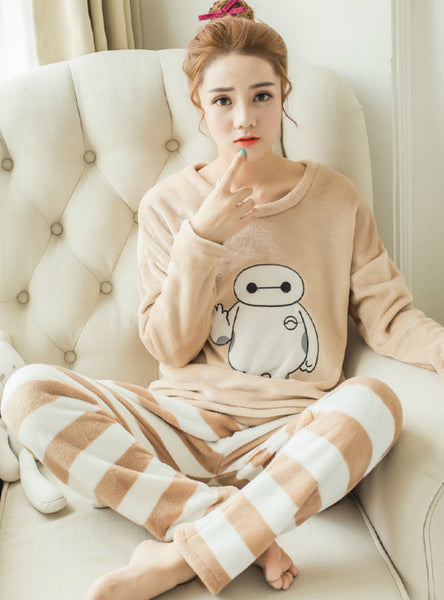 Baymax Pyjamas Sets Thick Warm Coral Velvet Suit