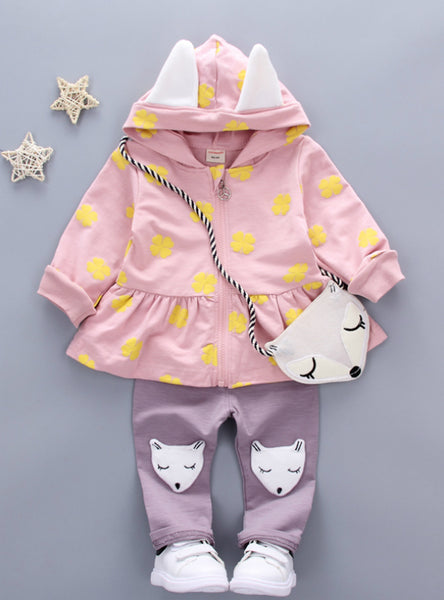 Print Cute Fox Bag Girls Clothing Girls Clothes Kids Sets